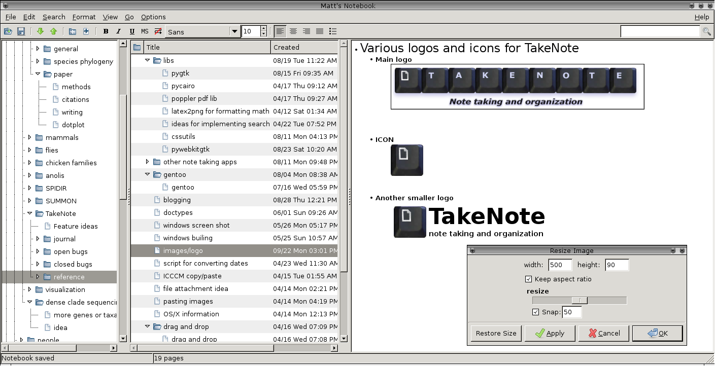 Manual for KeepNote: Note taking and organization